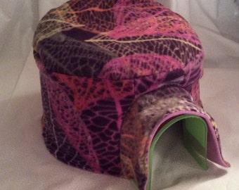 Purple Lace Leaves Igloo House Fleece Cover Print Fleece Hedgehog Pocket Pet Home Cover