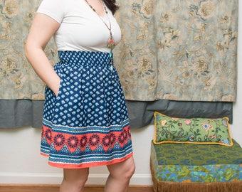 Upcycled Americana Knee Length Skirt