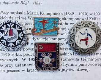 USSR collectible badges Winter sports pin badges Collectible badges Vintage soviet badges Sports fan gift Sportsman badges