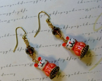 Orange Bunny Earrings-ceramic and glass, gold, 2 1/4 inches or 5.5 cm