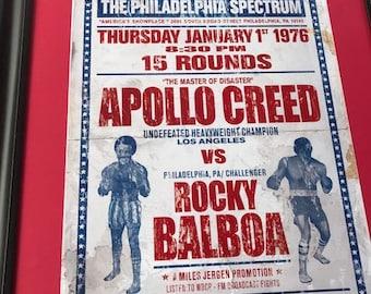 Rocky Balboa vs Apollo Creed Fictional Boxing Poster - Retro Faux Distressed - Philadelphia Spectrum, Bicentennial 1976