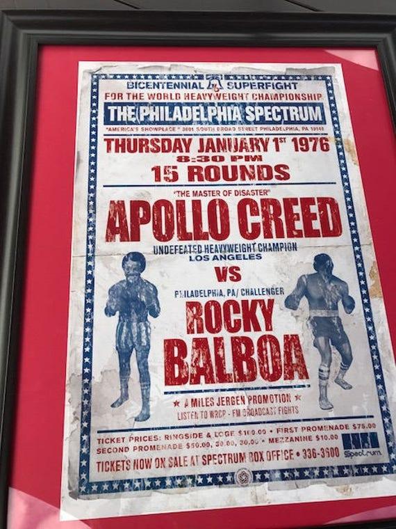 Rocky Balboa vs Apollo Creed Fictional Boxing Poster Retro