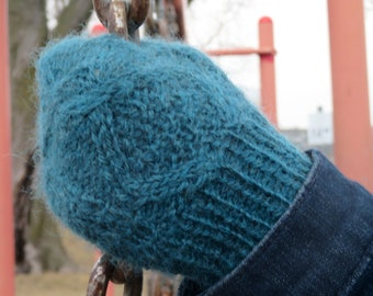 """Knitting Pattern:  Cabled Mittens -- Instant PDF Download.  """"Woodland Mittens"""".  For DK or Worsted Weight yarn."""