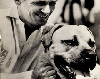 c.1940s Douglas Fairbanks Jr. poses with his Mastiff, Dog, NY Universal Movie Booking Office Postally Used, Excellent Condition