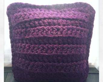 Knit Pillow, Chunky Knit Pillow, Chunky Pillow, Super Chunky Pillow, Decorative Pillow, Knitted Pillow, Throw Pillow, Valentines Day, Purple
