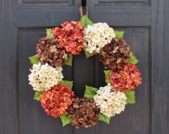 Fall Hydrangea Wreath, Fall Wreath for Front Door, Wreath for Thanksgiving, Wreath for Fall, Front Door Wreath, Fall Door Decor, Fall Wreath
