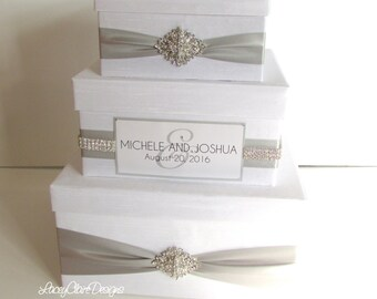 WEDDING Bow Tie Classic With Bling Wedding Card Box Sparkly