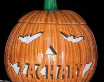 Personalized Halloween JACK O LANTERN Pumpkin with Bat Eyes