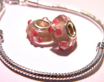 bead charm European - Murano-15 x 10 mm - pink-F196 glass