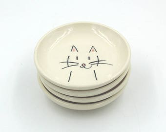 Small Ceramic Plate with a Happy Cat
