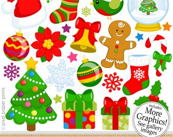 Christmas Clipart - Digital Clip Art - Christmas Elements - Personal and commercial use