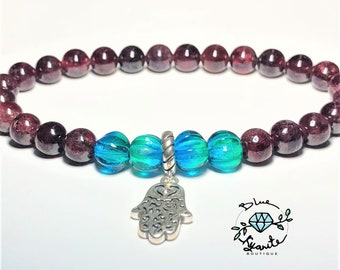Genuine Garnet / Sterling silver Hamsa Hand/ bracelet 8mm/ handcrafted turquoise glass beads