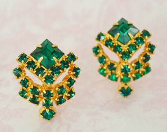 Vintage Clip-On Earrings in Emerald Green and Gold