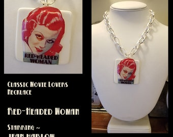 Classic Hollywood Lovers Necklace ~ Red-Headed Woman Jean Harlow Movie Poster