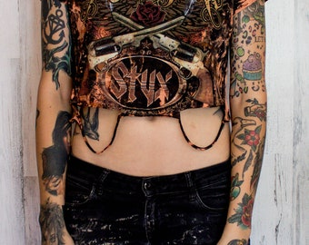 Styx - Distressed shirt - Custom band shirt - Reworked band tee - Bleached shirt -  Vintage inspired - Shredded Dreams - Women's Medium