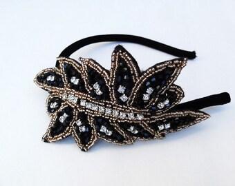 Black Beaded Headband, Crystal Rhinestone Head Piece, Gold Fascinator, 1920s Flapper, Hair Accessory, Burlesque Costume, Beaded Headpiece