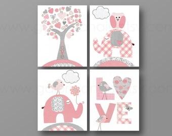 Pink and Gray Baby Girl Nursery Decor Nursery Wall Art Baby Nursery Decor Love Birds Elephant Tree Set of 4 prints