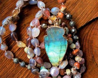 Labradorite arrow necklace