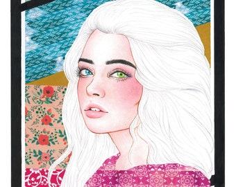 Multicolor Washi Collage Portrait - Archival Giclée Art Print - Various Sizes