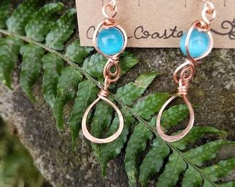 Copper Cats Eye Opal Earrings