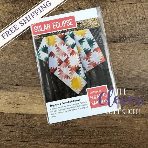 Quilt Pattern, Solar Eclipse, Elizabeth Hartman, Jelly Roll Quilt, Strip Pattern, Modern Quilt, Solar, Aztec, Southwest Quilt,