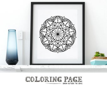Printable Adult Coloring Page Floral Mandala Coloring Pages Adult Coloring AntiStress Art Therapy Instant Download Printable Zentangle Art