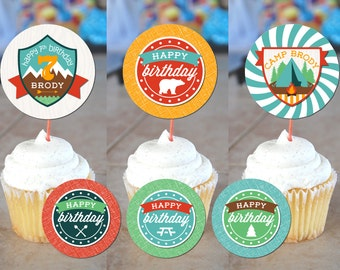 Let's Go Camping Printable Cupcake Toppers / Party Squares  - Digital Design