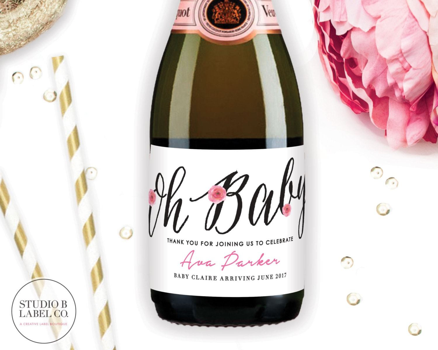 Oh Baby Mini Champagne Labels Baby Shower Favors Champagne