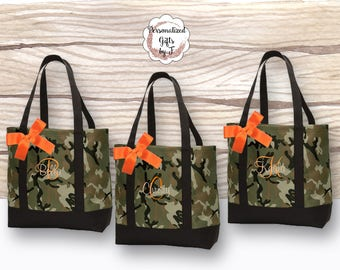 Camo Wedding, Bridesmaid Tote Bag, Personalized Bridesmaid Gifts, Camouflage Tote Bag, Monogrammed Hunting Tote Bag