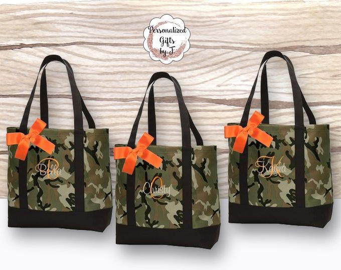 Camo Wedding, Bridesmaid Tote Bag, Personalized Bridesmaid Gifts, Camouflage Tote Bag, Monogrammed Hunting Tote Bag