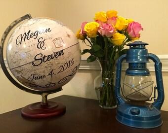 Custom Personalized Travel World Wedding Globe Guest Book -Custom World Globe