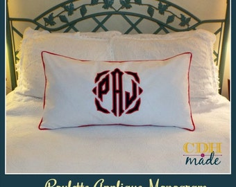 The JUMBO Roulette Applique Monogrammed Pillow Sham - Standard 20 x 26