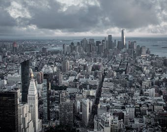 Empire State Building View, Financial District of New York City, Manhattan Island and Brooklyn, Clouds and Pale Evening Light over the City