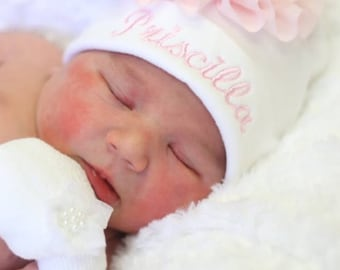 Embroidered White Infant Baby Girl Hat Cotton Personalized Baby Girl Hat