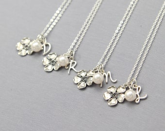 Custom Bridesmaid Necklace Set of 8, Personalized Gift for Bridal Party Jewelry, Sterling Silver Initial, Pearl, Flower