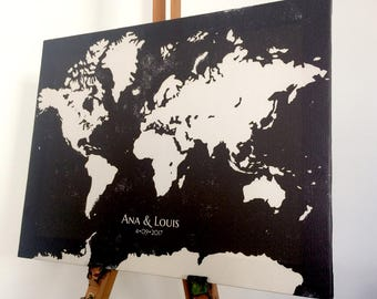 Wedding World Map  Gallery Wrap Canvas Signature Guest Book, Bride and Groom Gift, Wedding Anniversary Gift