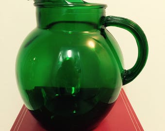 Vintage Green Glass Pitcher Anchor Hocking Roly Poly Ice Lip Pitcher