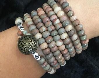 Jasper Gemstone Wrap Around Bracelet