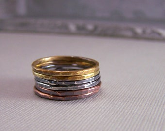 Rustic Stackable Stacking Rings - Mixed Metal Midi Ring Set