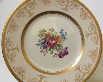 Old Ivory Syracuse China Gold Encrusted Flower Plate - Made In America (Shipping Included)