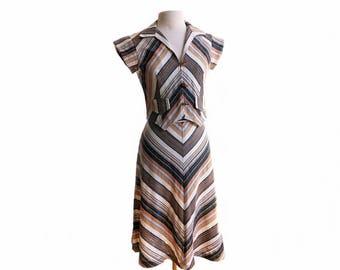 Vintage 70s Chevron striped dress set/ 1970s Skirt & Top Set/ textured cotton/ earthy tones