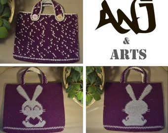 Knitted tote bags with rabbit / bunny