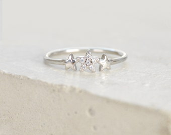 3-Star Celestial Stacking Ring - SILVER - Micro pave setting, fashion ring, star ring, promise ring for her
