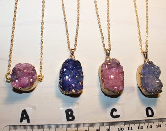 Pink Druzy Necklace. Purple Druzy Geode Necklace. Druzy Jewelry. Stone Necklace. Gold Necklace. Chunky Necklace.