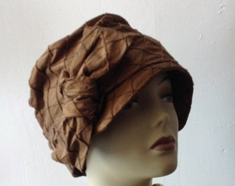 Brown Cloche FLapper hat 1920S Made to Order