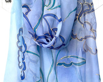 Hand Painted Silk Shawl Wrap, Blue Silk Shawl, Silk Chiffon Scarf, Floral Japanese Silk Scarf in Blue and Gold Ombre, Made to order