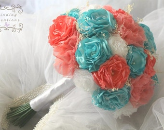 Coral and turquoise wedding Fabric Flower Bouquet set - keepsake bouquet handmade flowers, wedding bridal bouquet, alternative bouquet