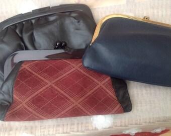 Trio Of Original Vintage 1970's Clutch Bags