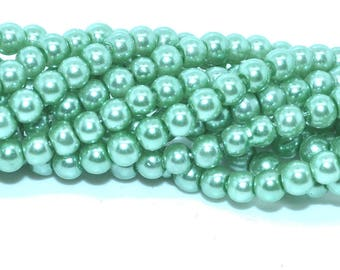 100 beads 3mm imitation Pearl Green