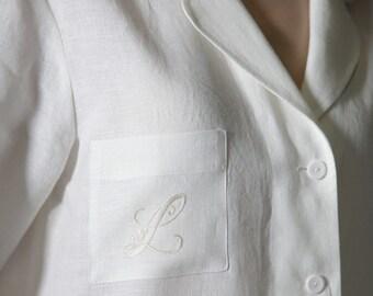 Linen Pajama Set For Women/ Monogrammed Pajama With Bag/ Personalized Pajama/ Luxury Linen Women'/ Flax Loungwear Women/ Linen Trouser Women